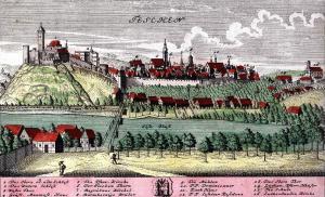 WERNER, Fryderyk Bernard. Teschen (Miedzioryt kolor., wykonany wg rysunku Fryderyka Wernera przedstawiający panoramę Cieszyna w połowie XVIII w.) - 165 x 264 mm - XVIII w.